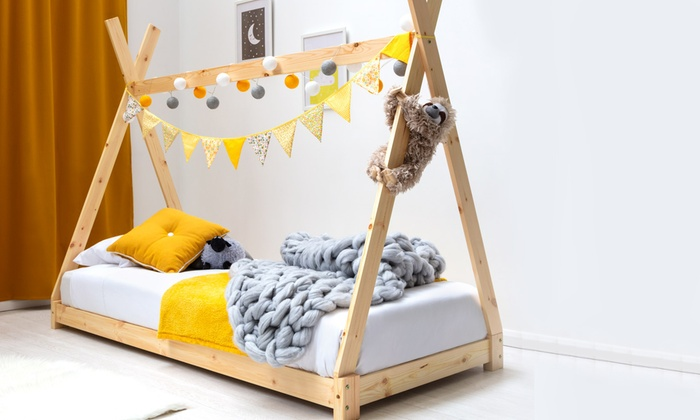 Tipi-Style Kids' Single Wood Bed with Optional Mattress