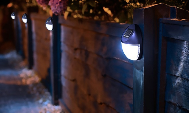 Round Solar Powered LED Fence Light: One ($9.95), Two ($17.95) or Four ($29.95)