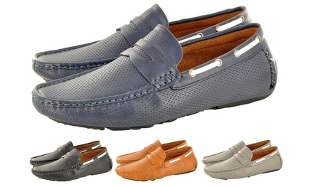 Men's Perforated Faux Leather Loafers for £17.99