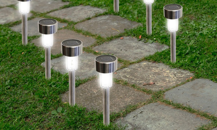 Garden Solar Lights From Asda : Bright led solar garden path lights pack groupon
