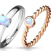 Stainless Steel Comfort Fit Opal Gemstone Ladies' Rings