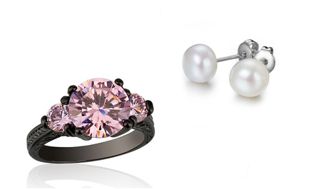2.50 CTTW Round-Cut Pink Sapphire Ring and Free Pearl Earrings