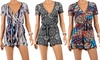 Women's Short-Sleeve V-Neck Romper: Women's Short-Sleeve V-Neck Romper