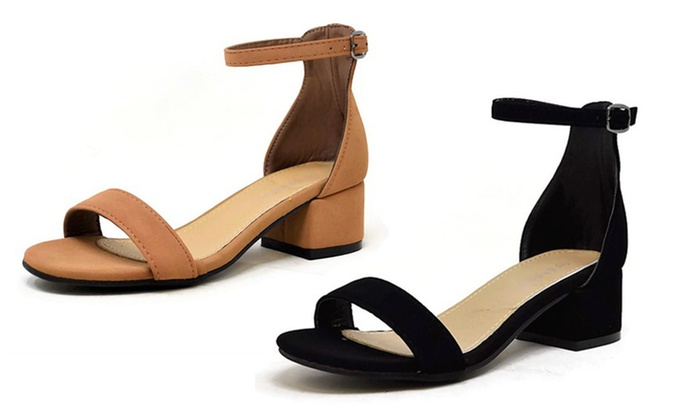 ce0a5e377707 Mata Women s Suede Open-Toe Low-Block-Heel Ankle-Strap Formal Sandals