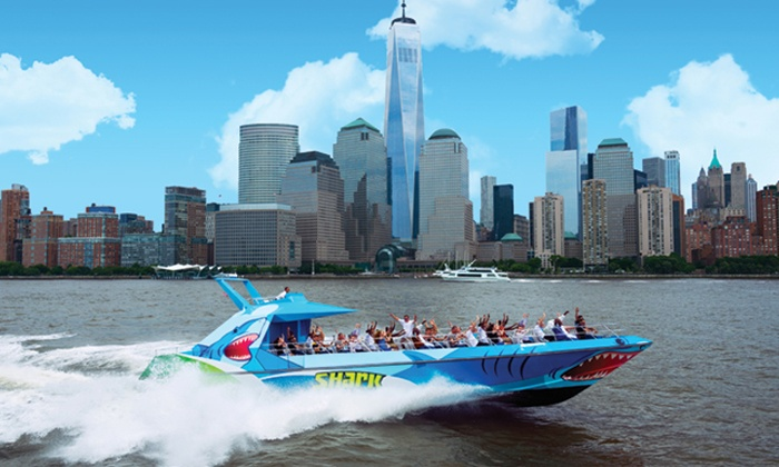 The Shark Speedboat Ride - New York Water Taxi – SHARK Speedboat: $14 for a Statue of Liberty Tour for an Adult or Child on the Shark Speedboat Thrill Ride ($28 Value)