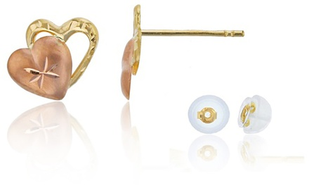 14K Two-Tone Gold Double Heart Stud Earrings by Decadence