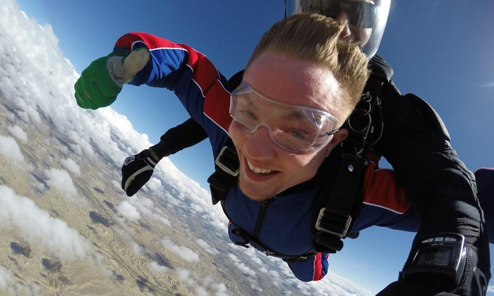 Tandem Skydiving. We offer tandem skydiving over southern Colorado. Located 45 min from Colorado Springs. Tandem skydiving is a skydive attached to an instructor. It is a wonderful way to experience skydiving for the first time. Read More.