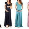 Women's Maternity Short-Sleeve Maxi Dress with Belt