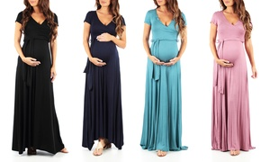 Women's Maternity Short-Sleeve Maxi Dress with Belt