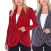 Women's Long Sleeve Criss Cross Cardigan. Plus Sizes Available.