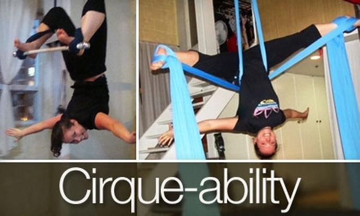 Cirque-ability - Brockton Village: $15 for One Aerial Silks, Trapeze, or Aerial Hoop Class at Cirque-ability ($30 Value)