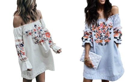 Off-the-Shoulder Frill Printed Tunic Dress