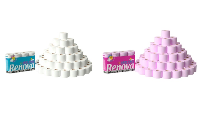 60 Renova Macadamia Toilet Rolls in Rose or White for £13.99