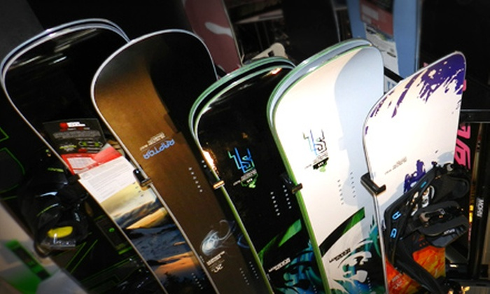 Riptank Boardshop - North Overton: Snowboard Rental Package or $25 for $50 Worth of Board-Sports Gear and Apparel at Riptank Boardshop (Half Off)