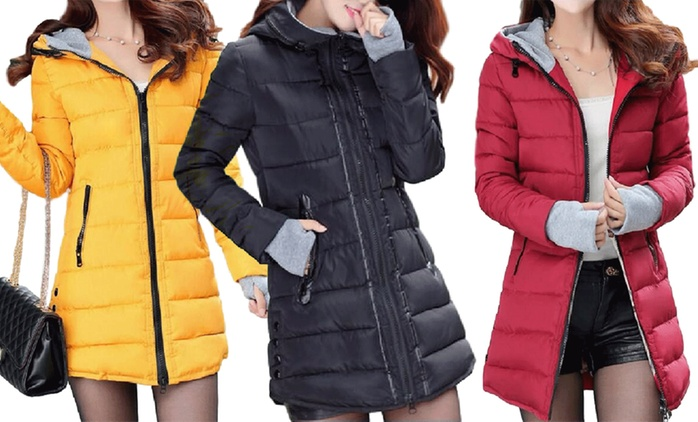 Women's Long Padded Coat in Choice of Size and Colour for £28.99 With Free Delivery