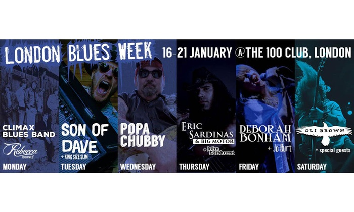 AGMP - 100 club: Blues Week: One (1) Ticket to Six Shows, 16–21 January 2017 at 100 Club (Up to 59% Off)