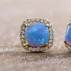 Nina & Grace Blue Opal Square Studs in 14K Gold over Sterling Silver