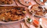 Menú con 1kg de pescado o marisco para dos con aperitivo, acompañante, postre y vino desde 29,95 € en Restaurante Abades