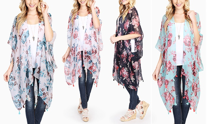 Open-Front Sheer Floral Cardigan | Groupon