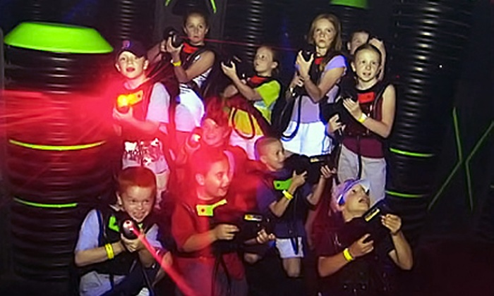 LazerZone - Multiple Locations: Laser Tag and Soda for 2 or a Laser Tag and Pizza Party for Up to 20 at LazerZone