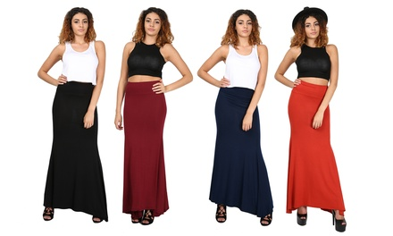 Be Jealous Stretch Flared Swing Maxi Skirt