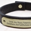 Leather Holy Scripture Bracelet in Stainless Steel by Pink Box
