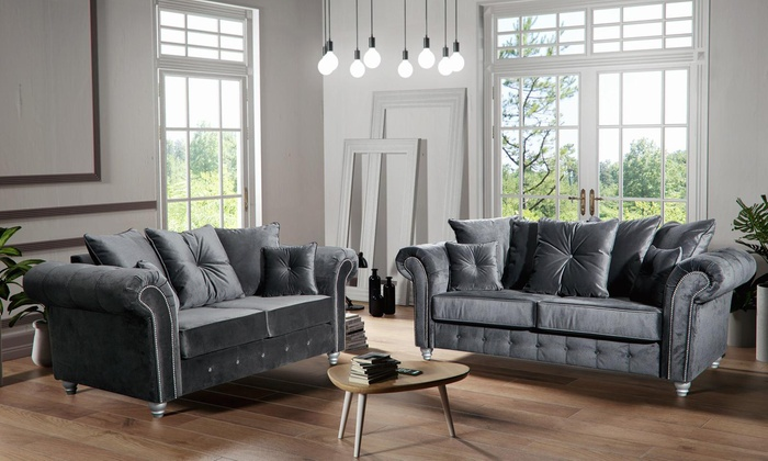 Plush Velvet Grey Sofas Set Groupon