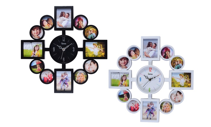 12 Slot Photo Frame With Clock