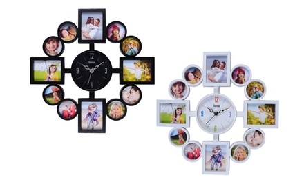 12Slot Photo Frame with Wall Clock in Choice of Colour