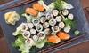 Große Sushi-Platte mit Miso-Suppe