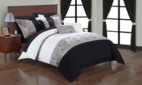 Groupon.com deals on Dionesia Floral Embroidered Bed-in-a-Bag Set 20-Piece Queen