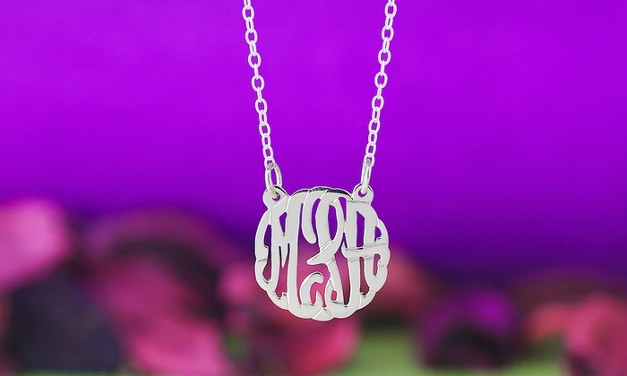 MonogramHub: Script Monogram Necklace or Pendant Plated in Sterling Silver from MonogramHub (76% Off)