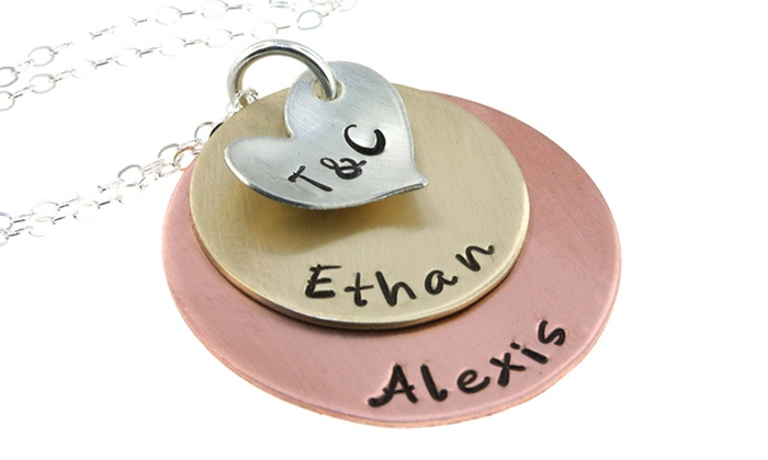 Hannah Design: Personalized Mixed-Metal Necklace on Sterling Silver Chain from Hannah Design