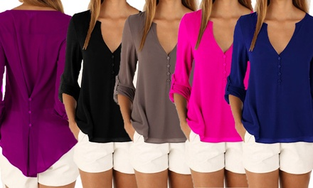 Button Back Chiffon Blouse in Choice of Seven Colours and Six Sizes