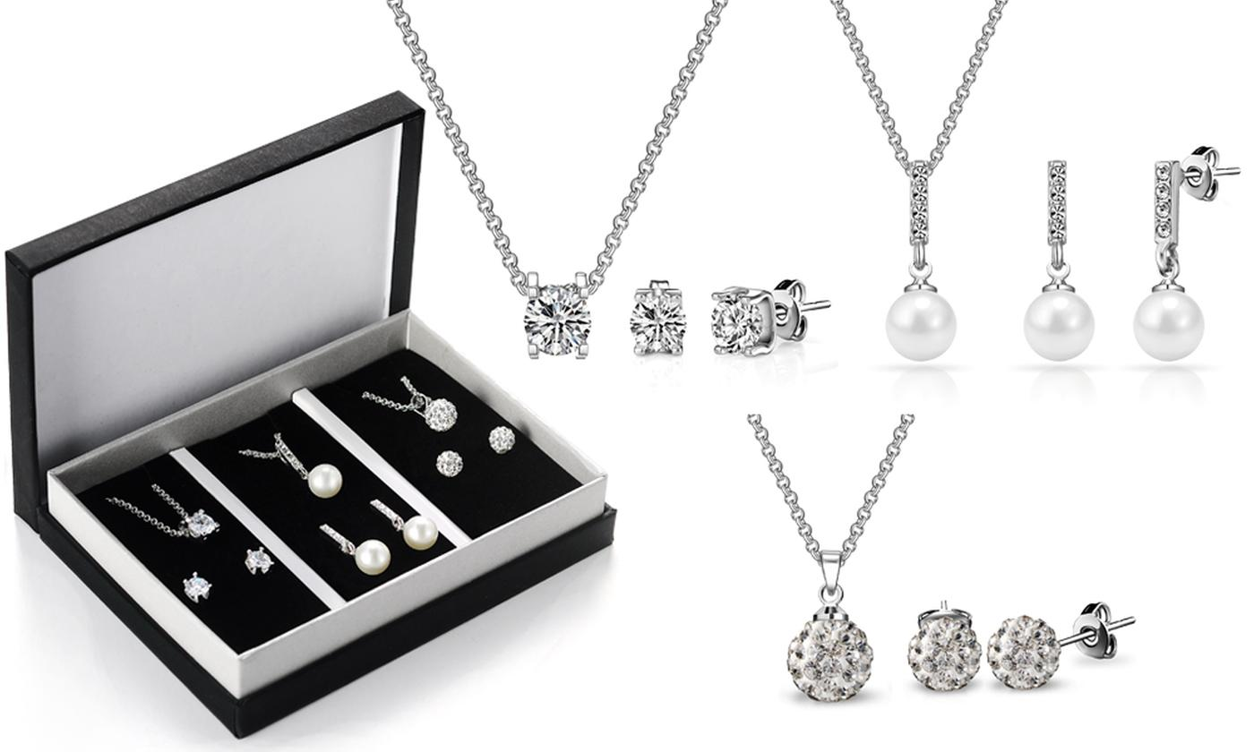 One or Two Philip Jones Jewellery Gift Sets with Crystals from Swarovski®