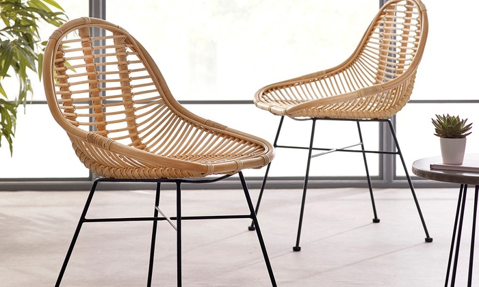 Two Rattan Dining Chairs from £169