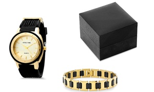 Men's 18K Gold-Plated Watch and Bracelet Set at Men's 18K Gold-Plated Watch and Bracelet Set, plus 9.0% Cash Back from Ebates.