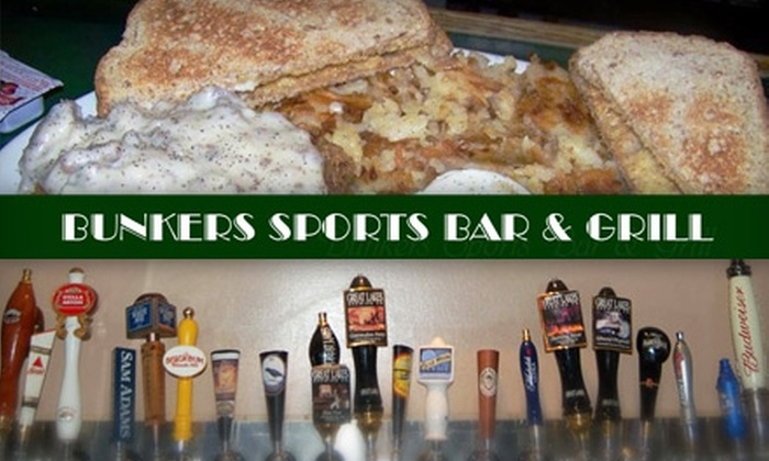 Bunkers Sports Bar and Grill - Vandalia: $6 for $12 Worth of Classic Pub Grub and Suds at Bunkers Sports Bar and Grill