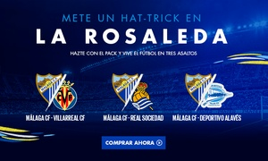 Málaga C.F.: Pack de entradas para 3 partidos del Málaga C.F. para la temporada 2017/2018 por 39,95 € en el estadio La Rosaleda