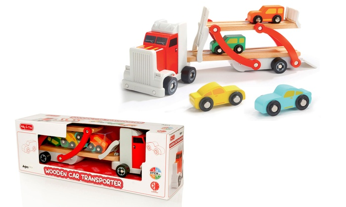Milly & Ted Wooden Car Transporter and Four Cars