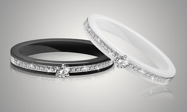 Bague solitaire en céramique véritable ornée de cristaux Swarovski®, à  16.90€ (82% de réduction)