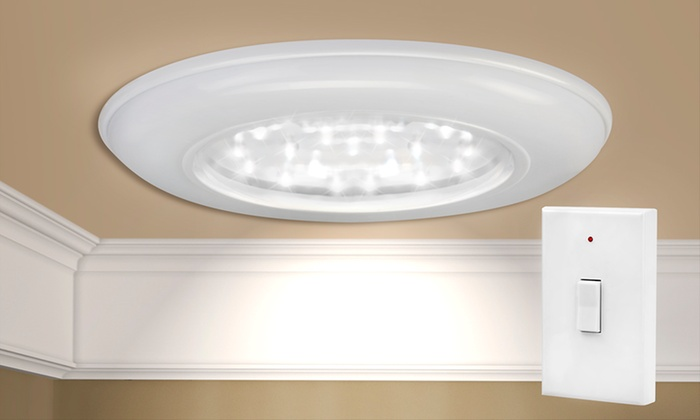 Cordless led ceiling wall lights groupon goods for Cordless wall light fixtures