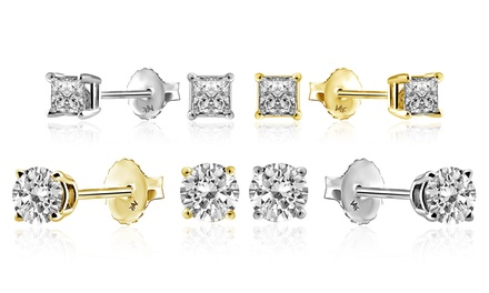 1/3 CTTW Diamond Stud Earrings in 18K Gold by Brilliant Essence Premier Collection