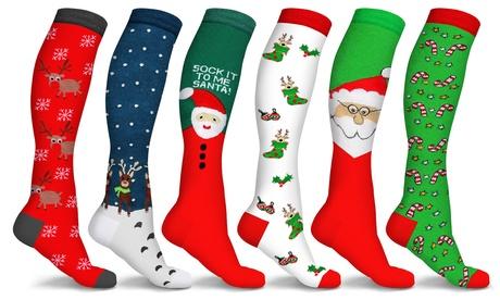 Holiday Fun Knee High Compression Socks (3-Pairs)