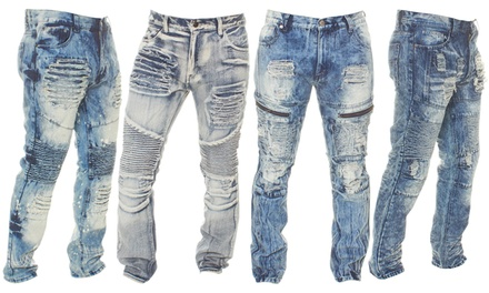 GS-115 Lion Dynasty Men's Distressed Relaxed-Fit Jeans