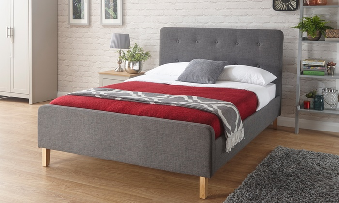 Buttoned Fabric Bed with Optional Mattress With Free Delivery