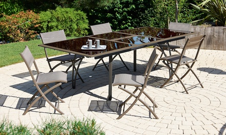 Ensemble table alu verre rallonge papillon cappuccino avec 4, 6 ou 8 chaises