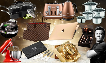 Mystery Kitchen Gift with a Chance to Win a Gold Macbook, KitchenAid Mixer, Delonghi Toaster Set and More