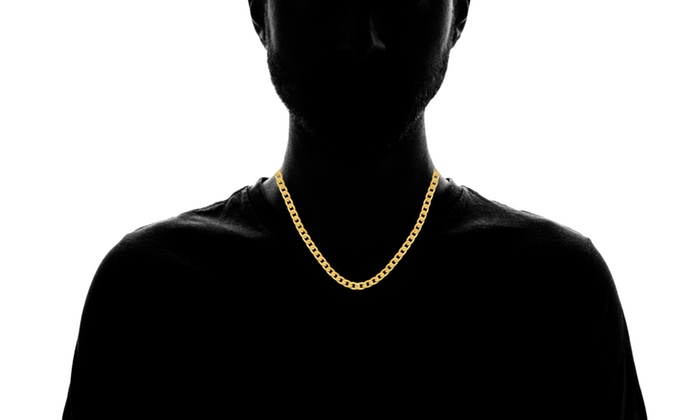 bdb31a17df6 Steeltime Men's Stainless Steel Cuban Link Chain Necklace and ...