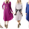 Women's Long-Sleeve Swing Dress